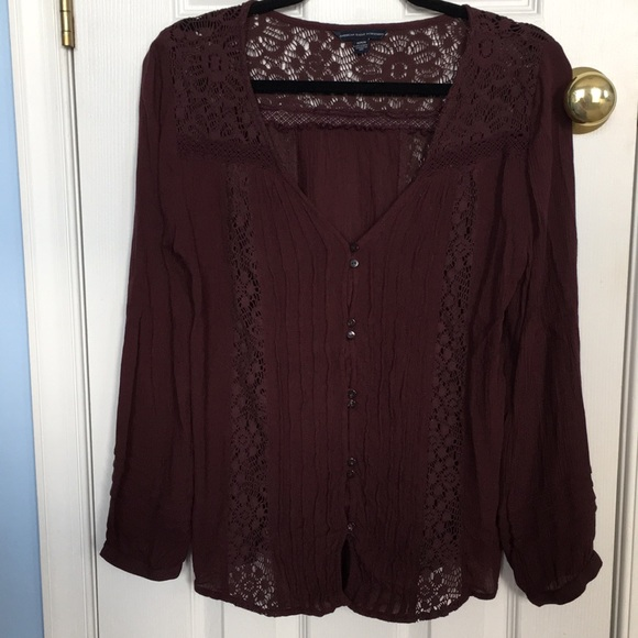 88cef47dd5f American Eagle Outfitters Tops - American Eagle Burgundy Lacy Blouse